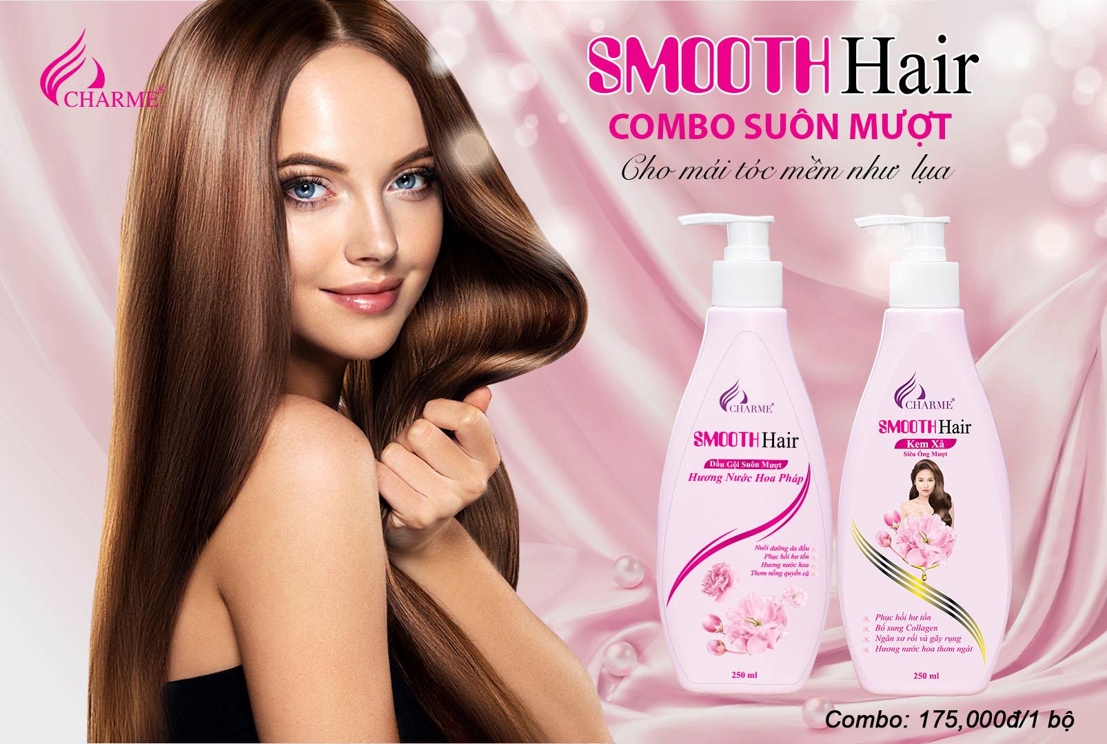 Combo Dầu gội Kem xả Charme Smooth Hair Siêu Óng Mượt 250ml 2