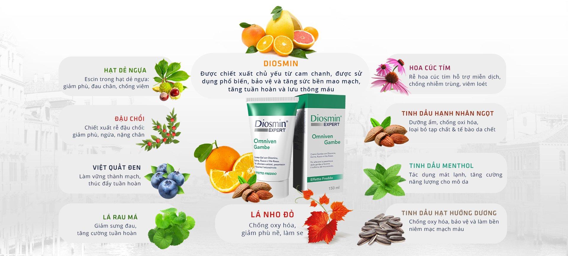 Kem bôi hỗ trợ giảm suy giãn tĩnh mạch Diosmin Expert 150ml 2