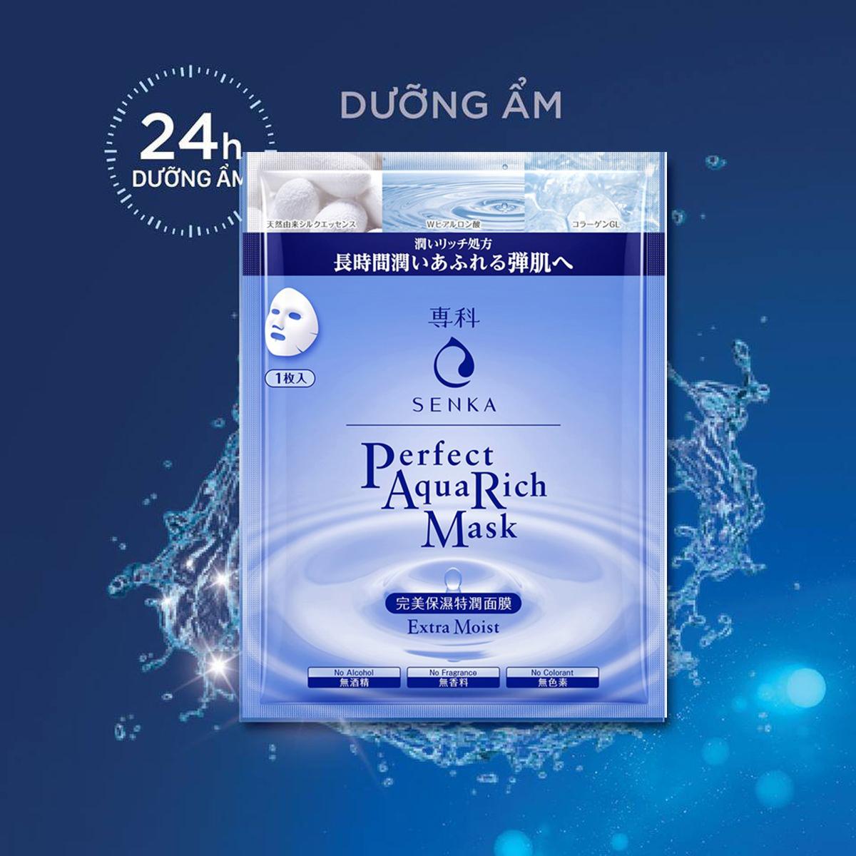 Mặt nạ hỗ trợ cấp ẩm Senka Perfect Aqua Rich Mask Extra Moist 23g 2