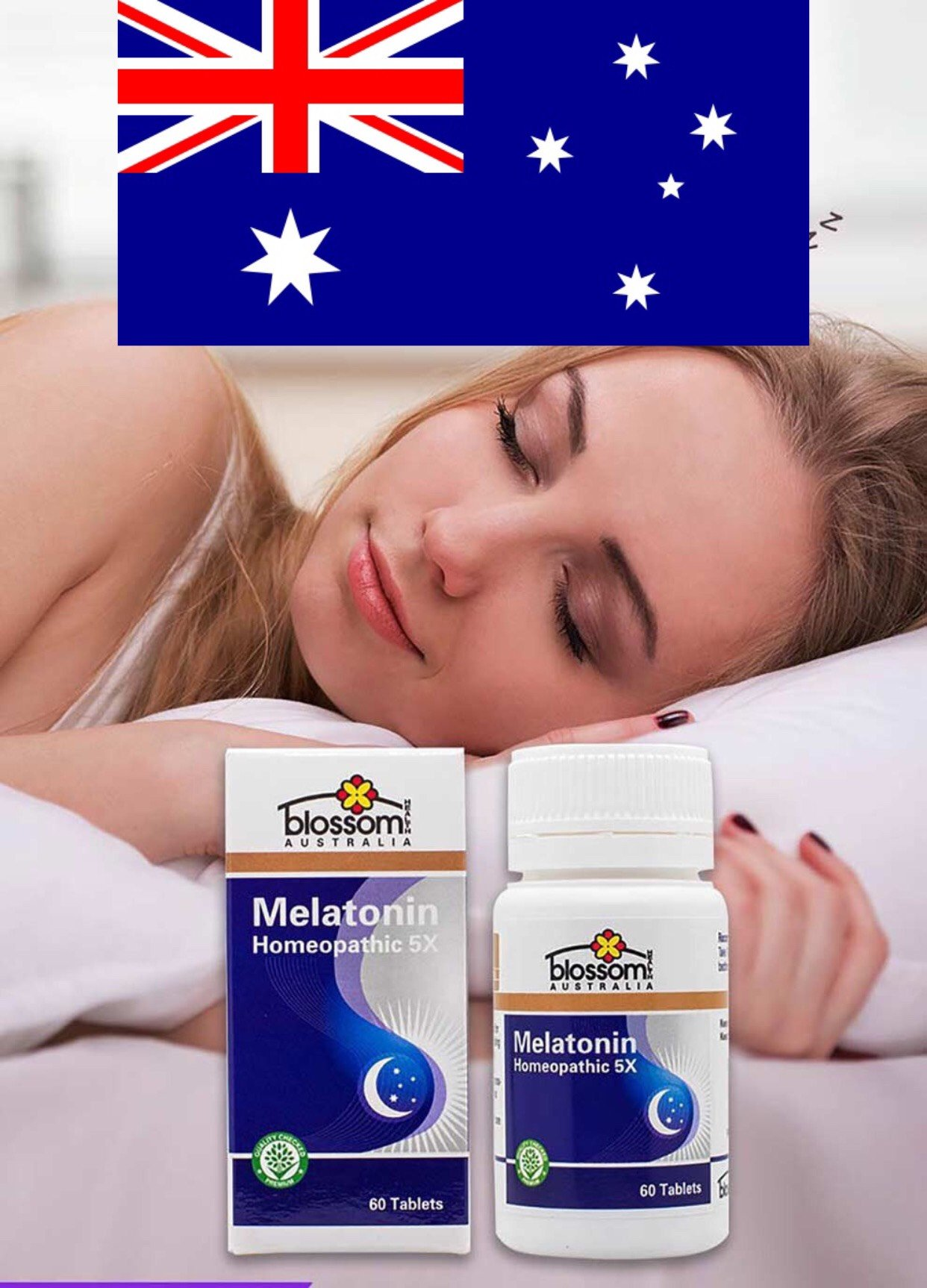 Viên Uống Ngủ Ngon Blossom Melatonin Homeopathic 5X hủ 60V của Úc 1