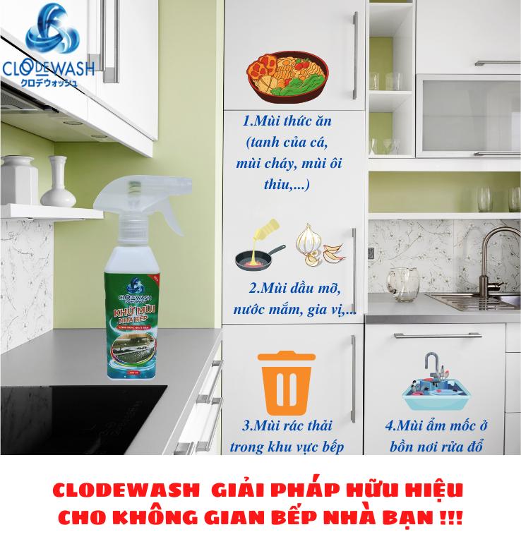 Chai xịt khử mùi nhà bếp Công Nghệ Nhật Bản ClodeWash 300ml 1