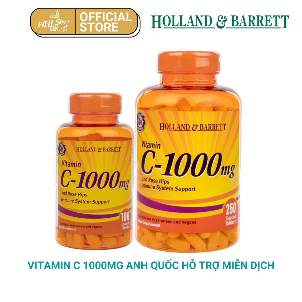Vitamin C 100a0mg Holland Barret lọ 100 viên chính hãng 1