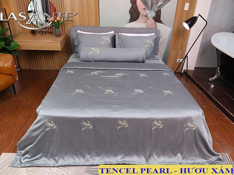 Bộ Drap bọc và chăn chần bông lụa Tencel Ngọc Trai Lasante Pháp 1