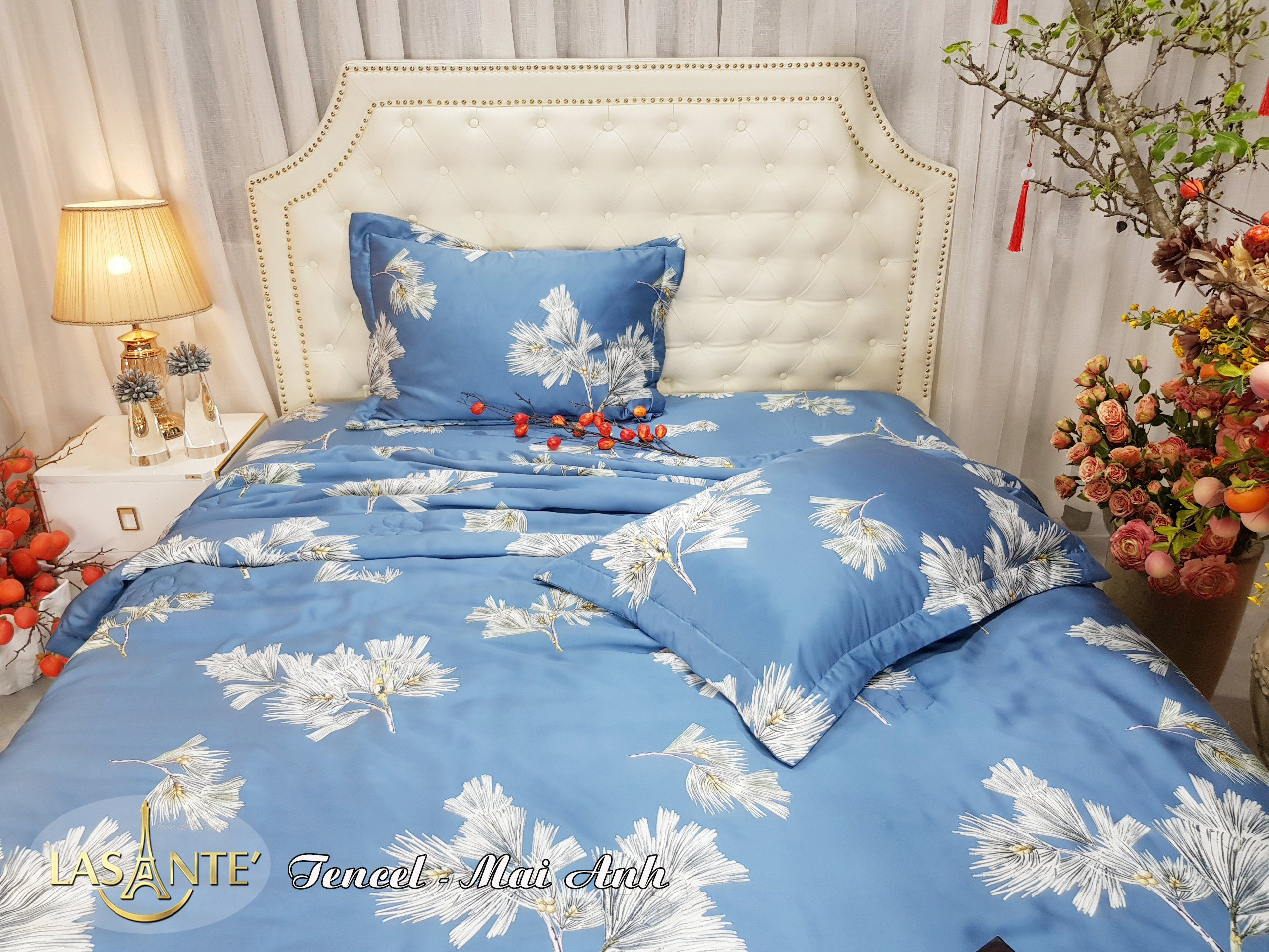 Bộ drap chun chần và chăn lụa Tencel Lasante Pháp 2