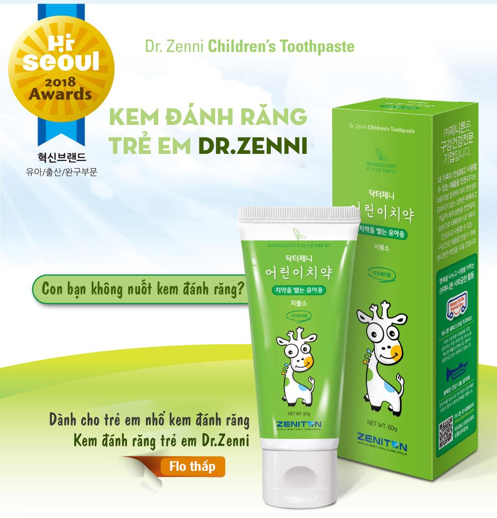 Kem đánh răng trẻ em ít Flouride DrZenni 2