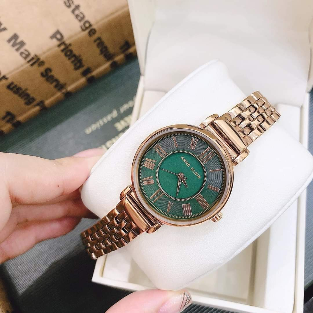 Đồng hồ nữ Anne Klein AK/2158GNRG mặt xanh case 30mm 2