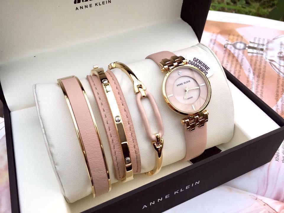 Set đồng hồ nữ AK/2684LPST Anne Klein  dây da 4 chi tiết 1