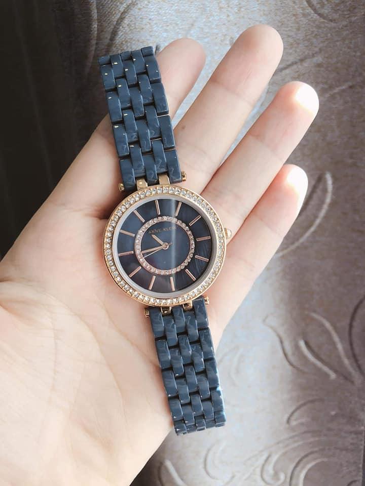 Đồng hồ nữ Anne Klein AK/2620NVRG Swarovski Navy Blue Resin Bracelet Watch 2