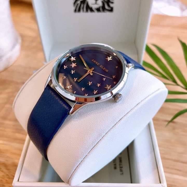 Đồng hồ nữ AK/3247RTDB Anne Klein dây da xanh blue 35mm 1