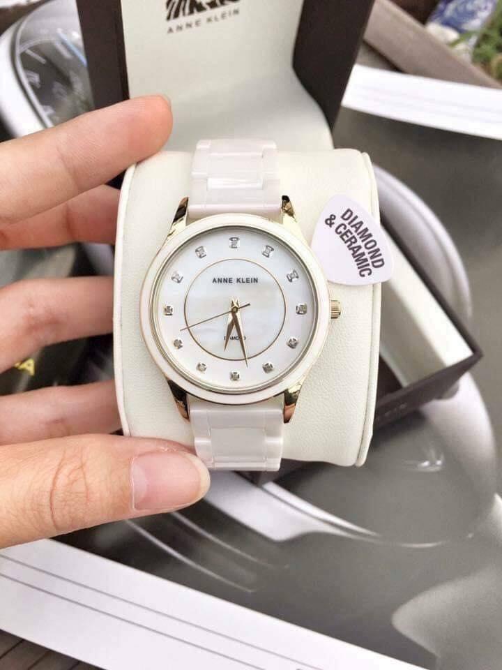 Đồng hồ nữ Anne Klein AK/2392RGWT ceramic trắng case 36mm 3