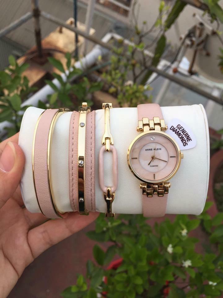Set đồng hồ nữ AK/2684LPST Anne Klein  dây da 4 chi tiết 2