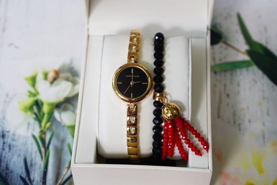 Set đồng hồ nữ ANNE KLEIN AK/2854GBST 22mm kèm vòng màu đen 1