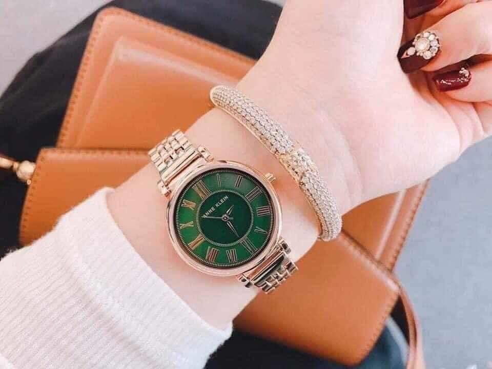 Đồng hồ nữ Anne Klein AK/2158GNRG mặt xanh case 30mm 4