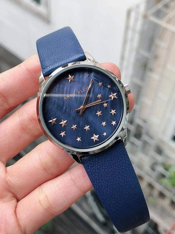 Đồng hồ nữ AK/3247RTDB Anne Klein dây da xanh blue 35mm 2