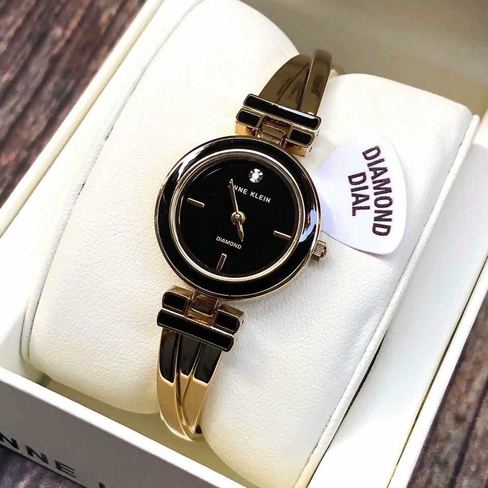 Đồng hồ nữ Anne Klein AK/2622BKRG mặt đen viền rose gold case 24mm 1
