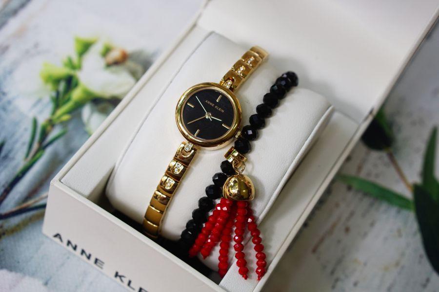 Set đồng hồ nữ ANNE KLEIN AK/2854GBST 22mm kèm vòng màu đen 2