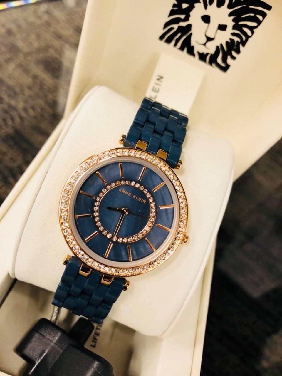 Đồng hồ nữ Anne Klein AK/2620NVRG Swarovski Navy Blue Resin Bracelet Watch 1