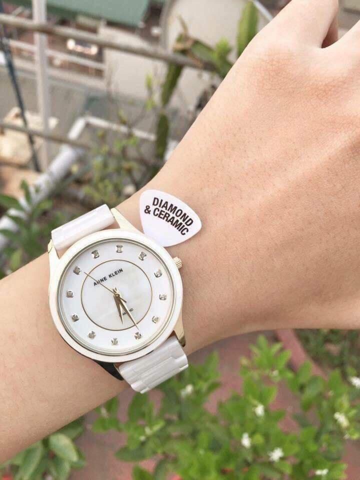 Đồng hồ nữ Anne Klein AK/2392RGWT ceramic trắng case 36mm 2