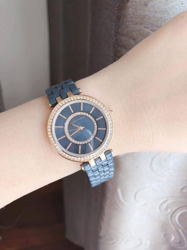 Đồng hồ nữ Anne Klein AK/2620NVRG Swarovski Navy Blue Resin Bracelet Watch 3