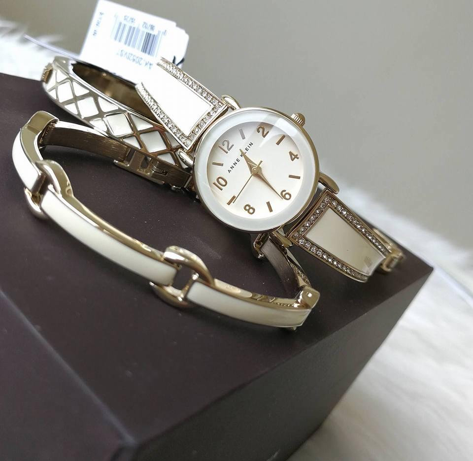 Set đồng hồ nữ Anne Klein AK/2052WTST 3 chi tiết 30mm 2